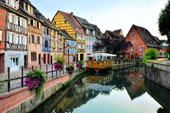 Beautiful canals of Colmar, Alsace, France at dusk Royalty Free Stock Images