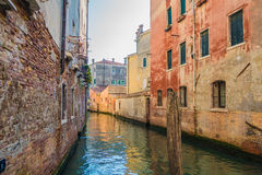 The Beautiful canals of Venice. Taking a quieter more romantic canal Stock Photo
