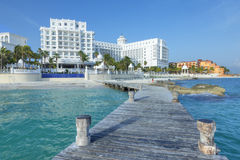 Beautiful Cancun resorts. CANCUN, MEXICO - JULY 30, 2015: Seaside resorts such as Hotel Riu Palace continue to offer quality five-star accommodations along the