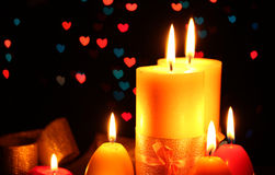 Beautiful candle and decor Royalty Free Stock Photos