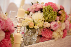 Beautiful candle with many flowers Royalty Free Stock Image