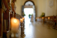 Beautiful candle wedding decoration in a church Royalty Free Stock Photos