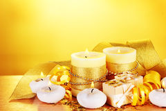 Beautiful candles, gifts and decor Stock Photography