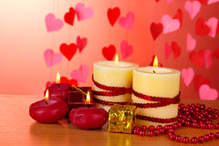 Beautiful candles with romantic decor Stock Images
