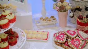 A beautiful candy bar in the hall.  stock video