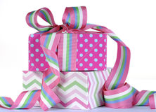 Beautiful candy color gifts royalty free stock image