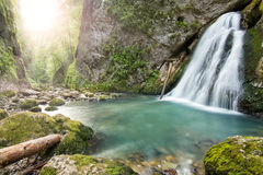 Beautiful canyon with cascade in Europe Royalty Free Stock Photography