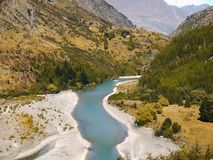 Beautiful Canyon River, New Zealand Landscape. Beautiful green Shotover River. Queenstown, New Zealand landscape Royalty Free Stock Photos