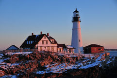 Cape Elizabeth Lighthouse at Sunrise Royalty Free Stock Image