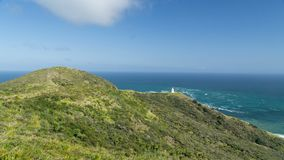 Beautiful Cape Reinga lighthouse in the northern most point of New Zealand stock photo