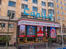 Beautiful Capitol cinema - movie theater at Gran Via Madrid Royalty Free Stock Images
