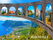 The beautiful Capri island. Italian travel series. The collage from photos of Italy. The landscapes of Garda Lake, Venice, Manarola at Cinque Terre, Venice stock photo