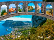 The beautiful Capri island. Italian travel series. The collage from photos of Italy. The landscapes of Garda Lake, Venice, Manarola at Cinque Terre, Venice royalty free stock photo