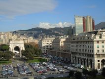 Genova in summer days with some streets. Beautiful caption of some buildings from the public houses in Genova stock photos