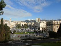 Genova in summer days with some streets. Beautiful caption of some buildings from the public houses in Genova royalty free stock photo