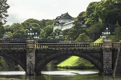 Beautiful and captivating view of seimon ironbridge from the gardens of Imperial palace in Tokyo Japan stock photography