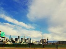 View of Downtown Los Angeles, California from freeway stock photography