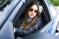 beautiful car driving her woman young Στοκ Εικόνα