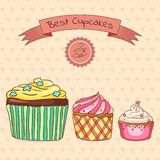 Beautiful card best cupcakes Royalty Free Stock Photography