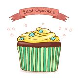 Beautiful card best cupcakes. Made in vector Stock Image