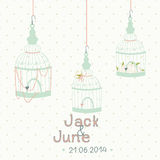 Beautiful card with a bird cage. Wedding design. Stock Photos