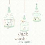 Beautiful card with a bird cage. Wedding design. Stock Photos