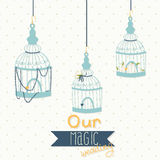 Beautiful card with a bird cage. Wedding design. Royalty Free Stock Photo