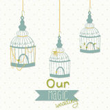 Beautiful card with a bird cage. Wedding design. Royalty Free Stock Photos