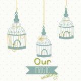 Beautiful card with a bird cage. Wedding design. Royalty Free Stock Photos
