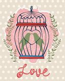 Beautiful card with birds in cage Royalty Free Stock Images