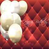 Beautiful card for birthday with red background and air balloons.  Stock Image
