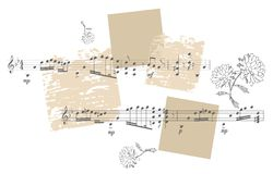Beautiful card with black and white flowers and musical notes Stock Photography
