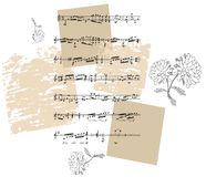 Beautiful card with black and white flowers and musical notes Stock Images