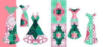 Beautiful card with collection of summer female dresses. Royalty Free Stock Image