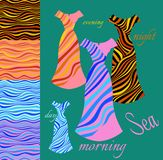 Beautiful card with collection of summer female dresses with waves Royalty Free Stock Photo