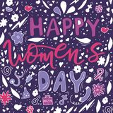 Beautiful card design for happy women`s day celebration. Postcar. D for woman doctor, mother, girl, lady with flowers and female accesories. Vector vector illustration