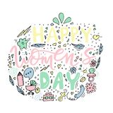 Beautiful card design for happy women`s day celebration. Postcar. D for business woman, mother, girl, lady with flowers and female accesories. Vector Vector Illustration