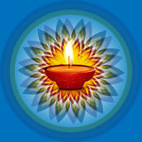 Beautiful card diwali rangoli blue background Stock Photo
