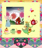 Beautiful card with dragon, princess, fairy house and elements for teatime Royalty Free Stock Photo