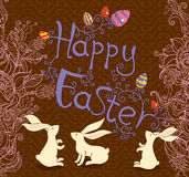 Beautiful card with Easter bunny. Royalty Free Stock Image