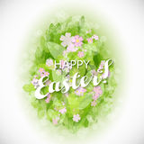 Beautiful card Easter egg with green leaves Stock Image