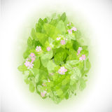 Beautiful card Easter egg with green leaves Royalty Free Stock Image