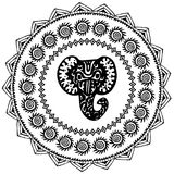 Beautiful card with Elephant Indian with ornaments. Round frame for your text. Hand drawn banner template with ethnic Elephant hea. D. Black contour isolated on Royalty Free Stock Photos