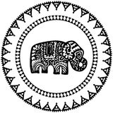 Beautiful card with Elephant Indian with ornaments. Round frame for your text. Hand drawn banner template with ethnic Elephant hea. D. Black contour isolated on Royalty Free Stock Photography