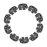 Beautiful card with Elephant Indian with ornaments. Round Wreath frame composition frame for your text. Hand drawn banner template. Ethnic. Black contour Royalty Free Stock Images