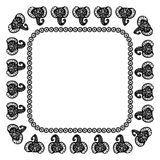 Beautiful card with Elephant Indian with ornaments. Square frame for your text. Hand drawn banner template with ethnic Elephant he. Ad. Black contour isolated on Stock Photos