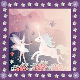 Beautiful card with fairy winged girl and unicorn in frame with flowers.  Royalty Free Stock Photo