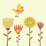 Beautiful card with flying bird and flowers Royalty Free Stock Photos