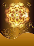 Beautiful card with a gold flower Stock Photo