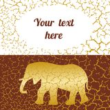 Beautiful card with golden elephant. And cracks Royalty Free Stock Images